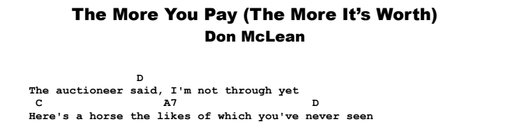 Don McLean - The More You Pay (The More It's Worth) Chords & Songsheet