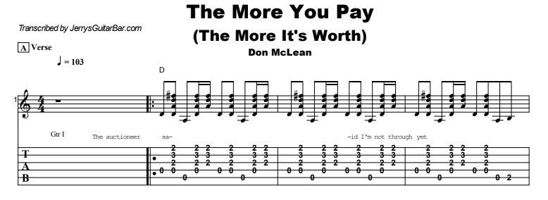 Don McLean - The More You Pay (The More It's Worth) Tab