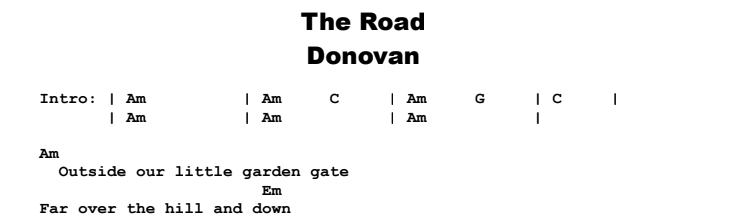 Donovan - The Road Chords & Songsheet