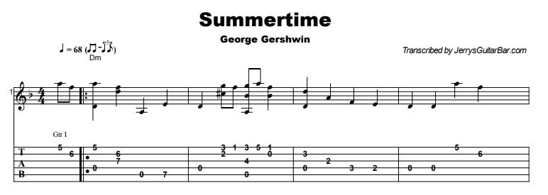 Fingerstyle Instrumental - Summertime Tab