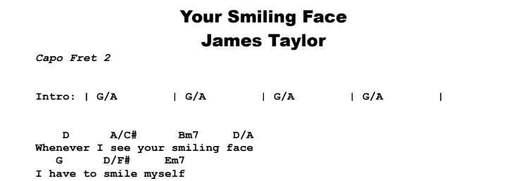James Taylor - Your Smiling Face Chords & Songsheet