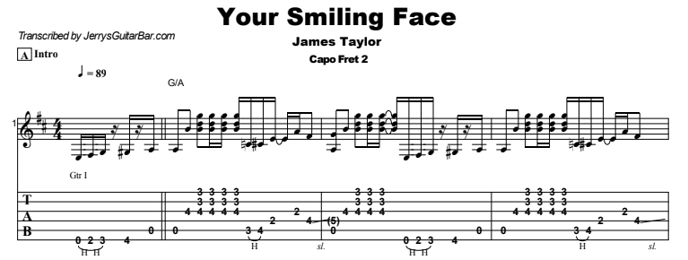 James Taylor - Your Smiling Face Tab