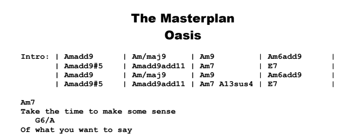Oasis - The Masterplan Chords & Songsheet