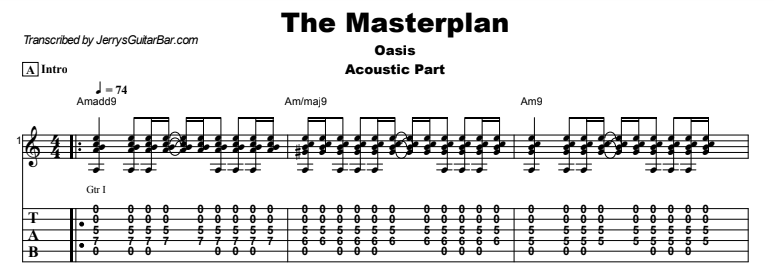 Oasis - The Masterplan Tab