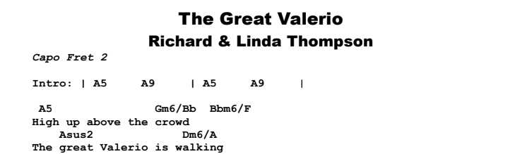 Richard Thompson - The Great Valerio Chords & Songsheet