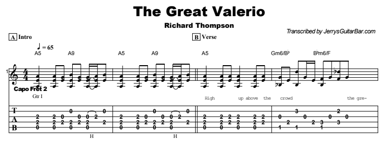 Richard Thompson - The Great Valerio Tab