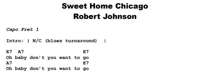 Robert Johnson - Sweet Home Chicago Chords & Songsheet