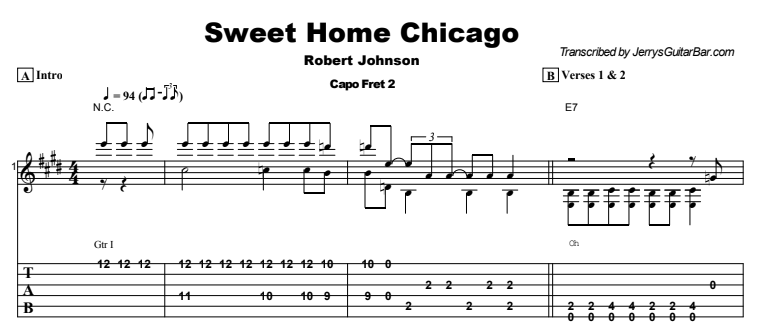 Robert Johnson - Sweet Home Chicago Tab