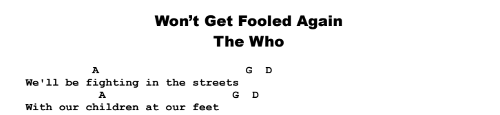 The Who - Won't Get Fooled Again Chords & Songsheet