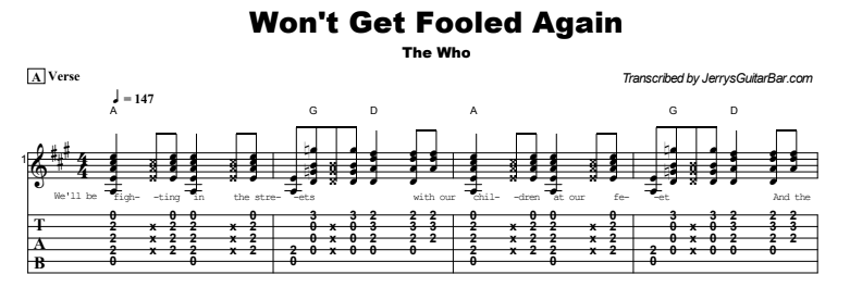 The Who - Won't Get Fooled Again Tab