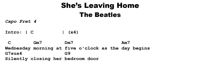 Beatles - She's Leaving Home Chords & Songsheet