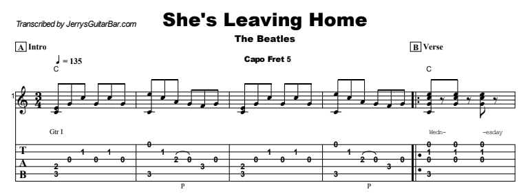 Beatles - She's Leaving Home Tab