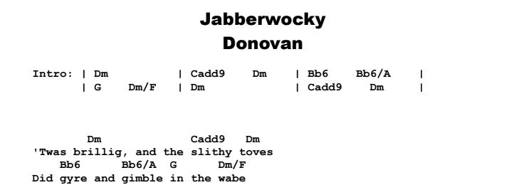 Donovan - Jabberwocky Chords & Songsheet