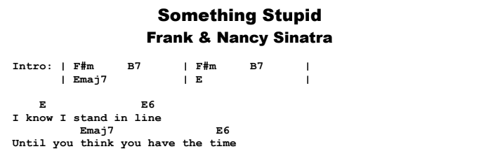 Frank Sinatra - Something Stupid Chords & Songsheet