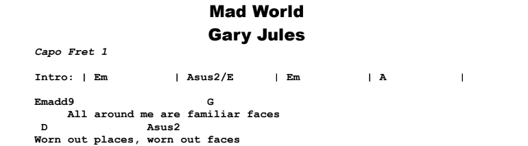 Gary Jules - Mad World Chords & Songsheet