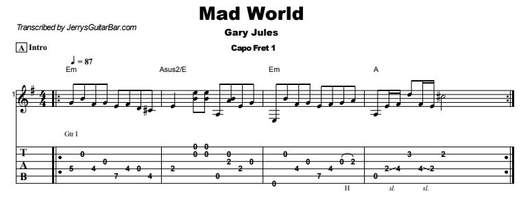 Gary Jules - Mad World Tab