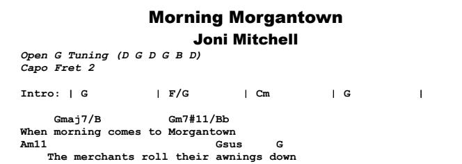 Joni Mitchell - Morning Morgantown Chords & Songsheet