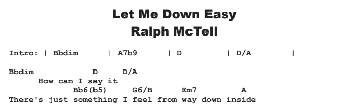 Ralph McTell - Let Me Down Easy Chords & Songsheet