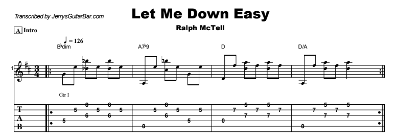Ralph McTell - Let Me Down Easy Tab
