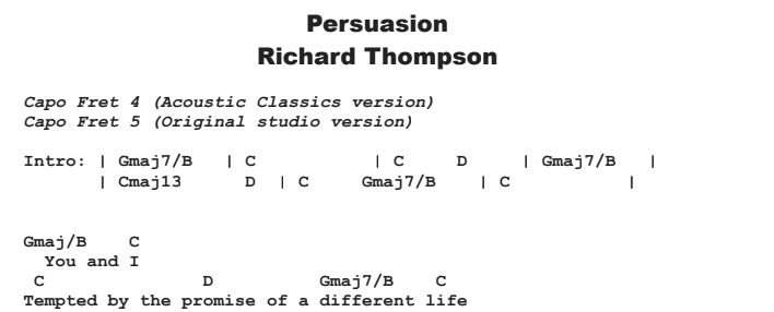 Richard Thompson - Persuasion Chords & Songsheet