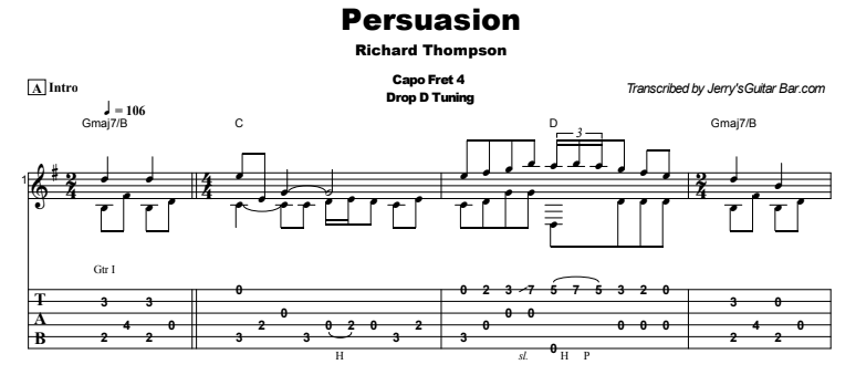 Richard Thompson - Persuasion Tab