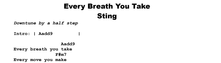Sting - Every Breath You Take (acoustic) Chords & Songsheet