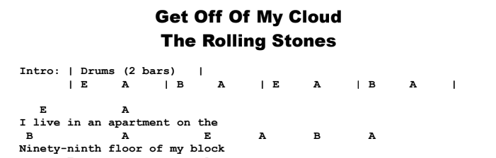 Rolling Stones - Get Off Of My Cloud Chords & Songsheet