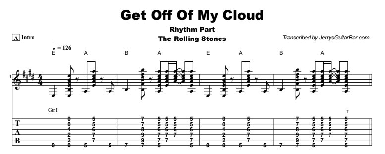 Rolling Stones - Get Off Of My Cloud Tab