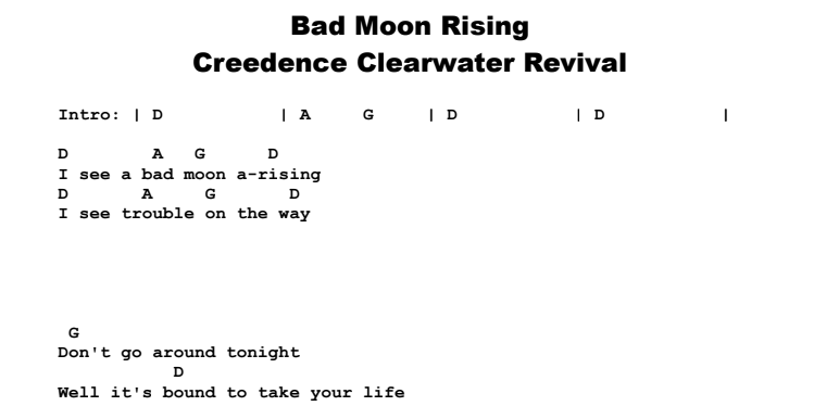 Creedence Clearwater Revival - Bad Moon Rising Chords & Songsheet