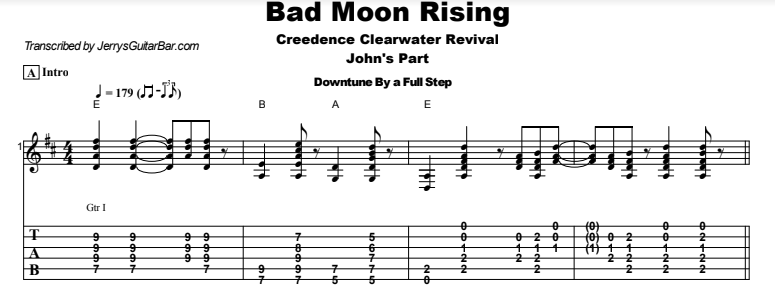 Creedence Clearwater Revival - Bad Moon Rising Tab
