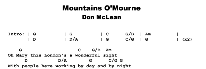Don McLean - Mountains O' Mourne Chords & Songsheet