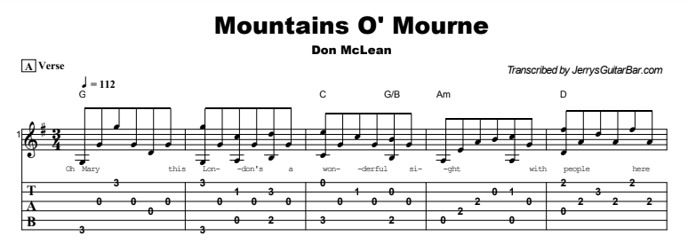 Don McLean - Mountains O' Mourne Tab