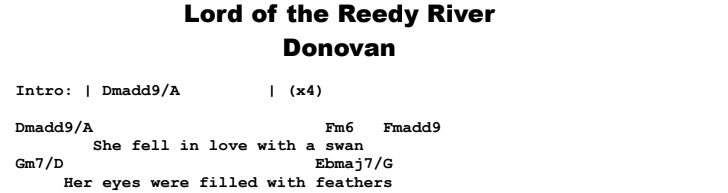 Donovan - Lord of the Reedy River Chords & Songsheet