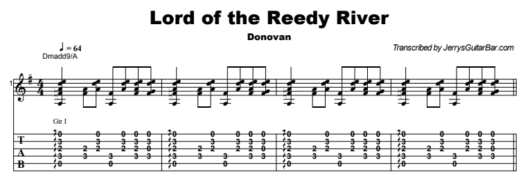 Donovan - Lord of the Reedy River Tab