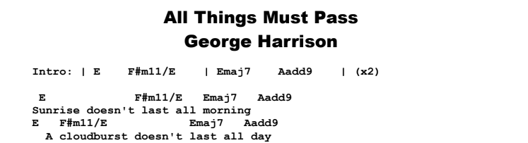 George Harrison - All Things Must Pass Tab