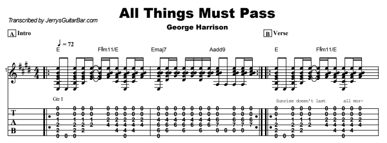 George Harrison - All Things Must Pass Chords & Songsheet