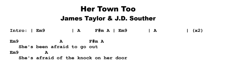 James Taylor - Her Town Too Chords & Songsheet