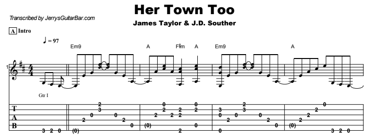 James Taylor - Her Town Too Tab
