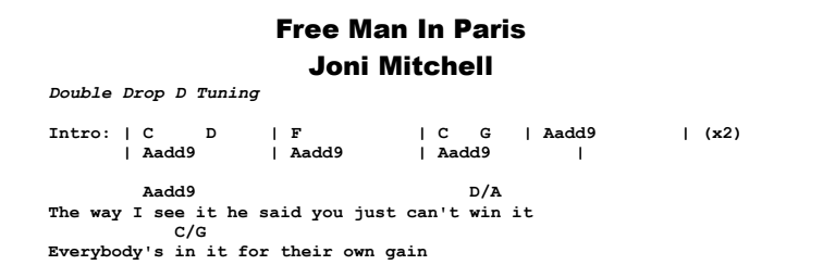 Joni Mitchell - Free Man In Paris Chords & Songsheet