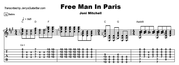 Joni Mitchell - Free Man In Paris Tab