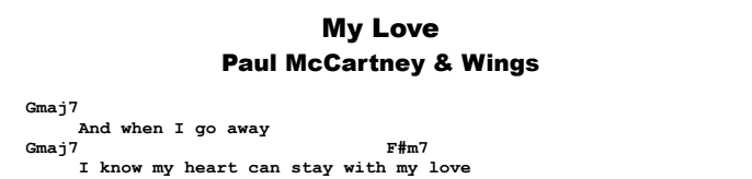 Paul McCartney & Wings - My Love Chords & Songsheet