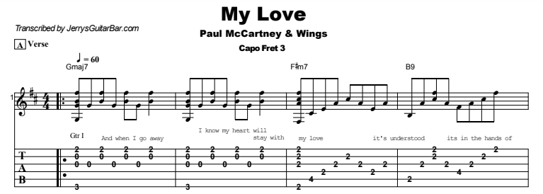 Paul McCartney & Wings - My Love Tab