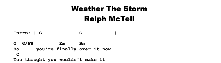 Ralph McTell - Weather The Storm Chords & Songsheet