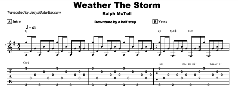 Ralph McTell - Weather The Storm Tab