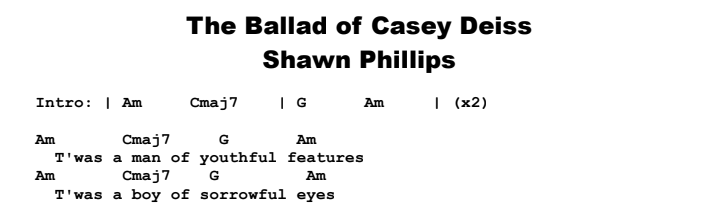 Shawn Phillips - The Ballad of Casey Deiss Chords & Songsheet