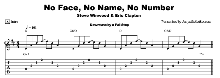 Steve Winwood - No Face No Name No Number Tab