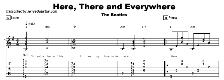 The Beatles - Here, There and Everywhere Tab