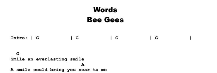 Bee Gees - Words Chords & Songsheet