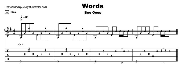 Bee Gees - Words Tab