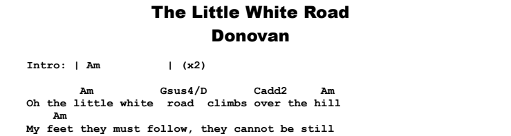 Donovan - The Little White Road Chords & Songsheet